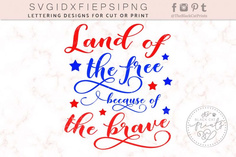 LAND OF THE FREE BECAUSE OF THE BRAVE SVG