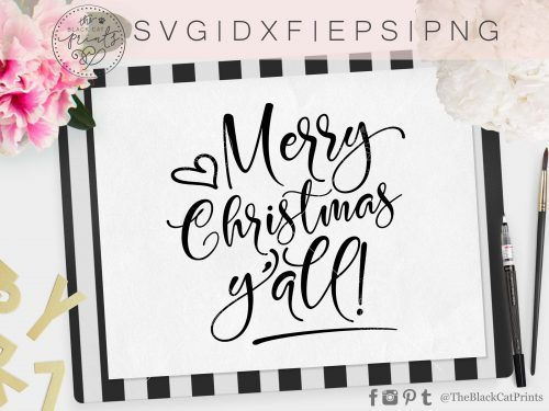 Merry Christmas Y'all svg - TheBlackCatPrints