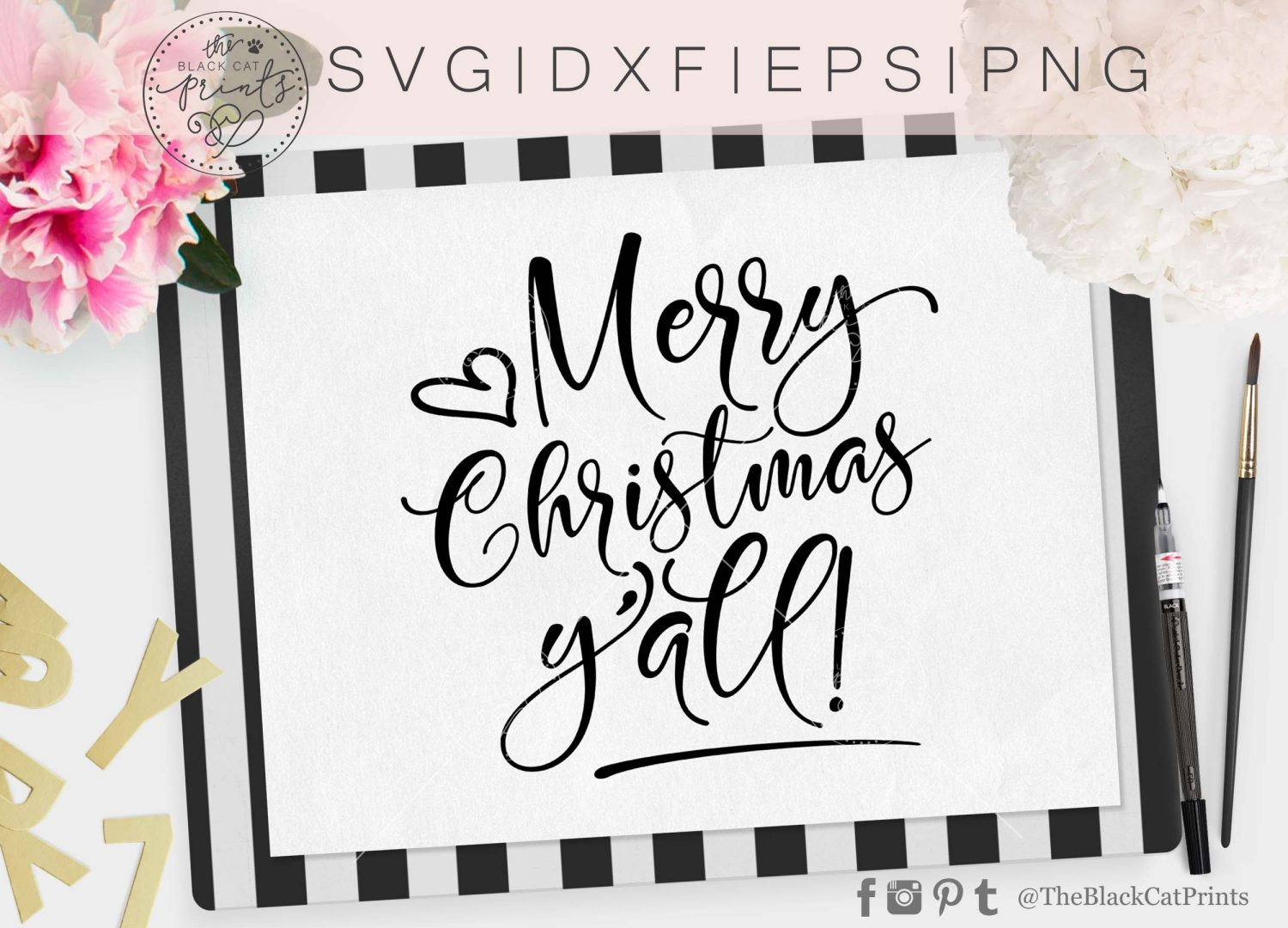 Merry Christmas Yall.Merry Christmas Yall Svg Dxf Png Eps