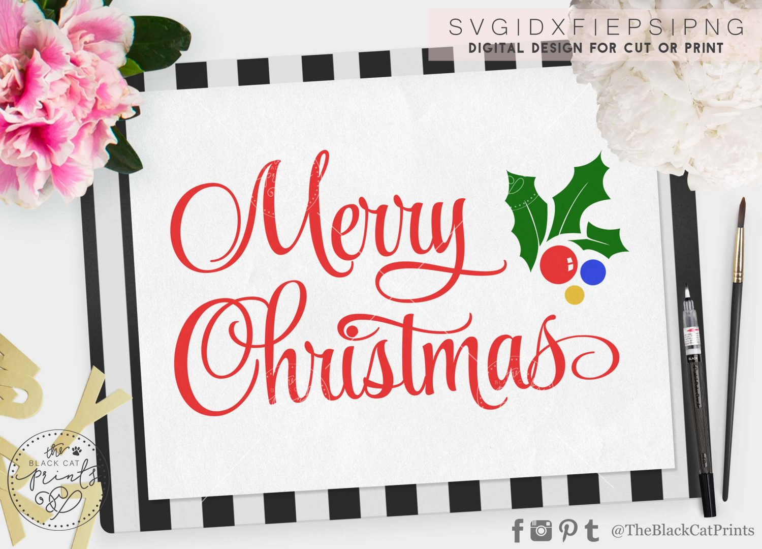 merry christmas svg theblackcatprints