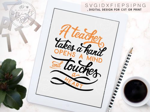 A teacher takes a hand svg