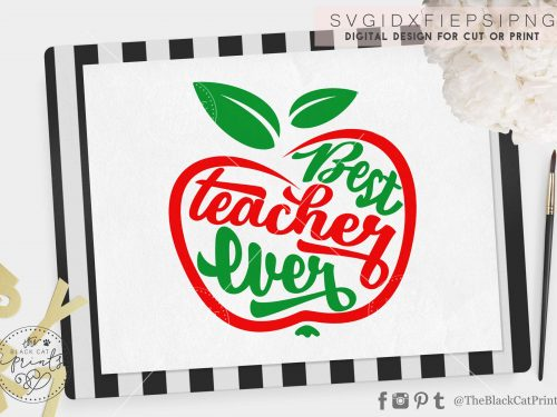Best teacher ever apple svg