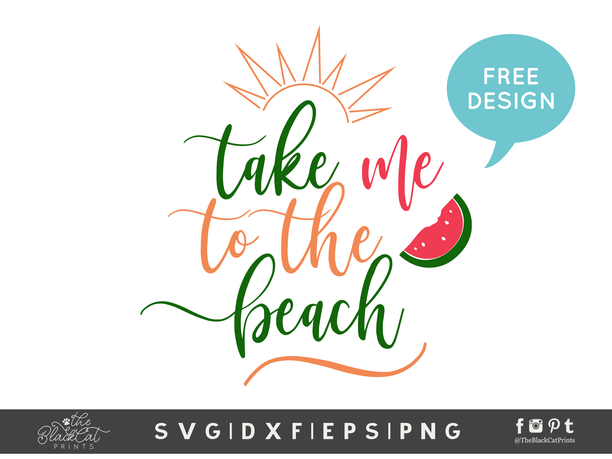 Take Me To The Beach Svg Dxf Png Eps Theblackcatprints