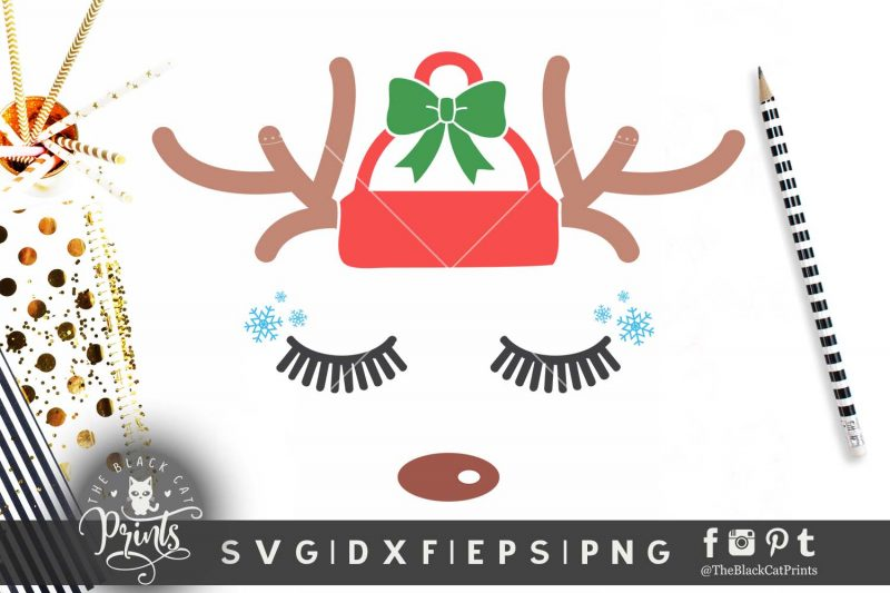 Christmas Reindeer face SVG