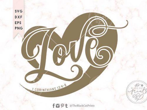 Love Heart 1 Corinthians 13:4-8 svg