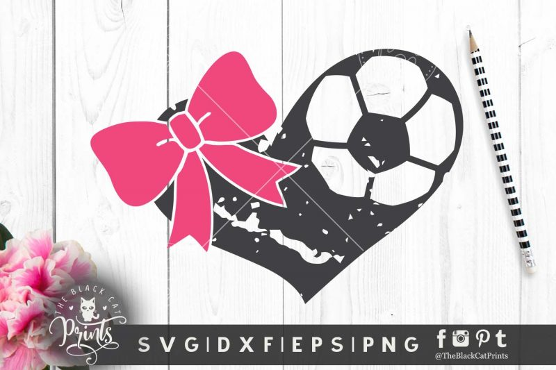 Soccer heart with bow SVG