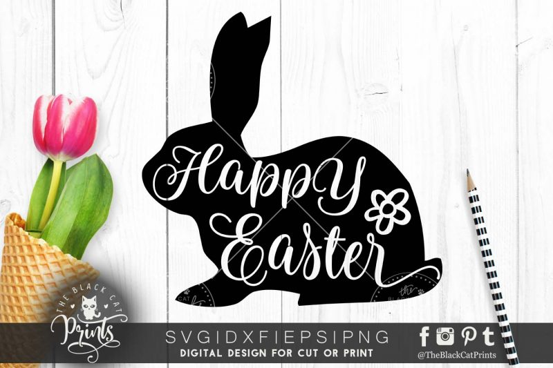 Happy Easter bunny silhouette svg