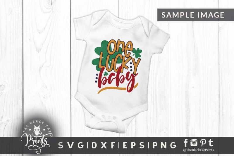 One lucky mommy & baby matching designs svg