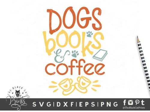 Dogs Books & Coffee SVG