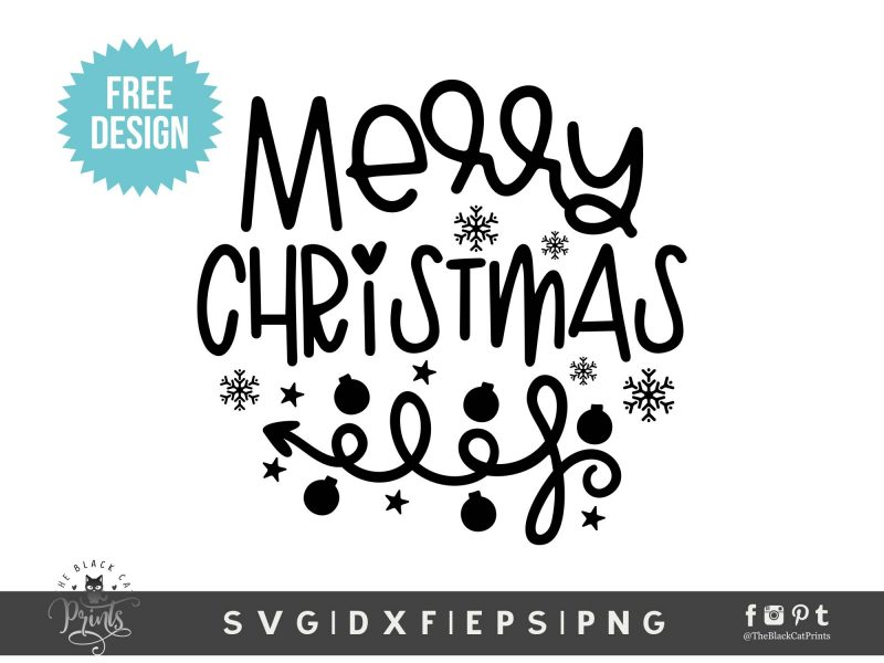 Merry Christmas Free cut file