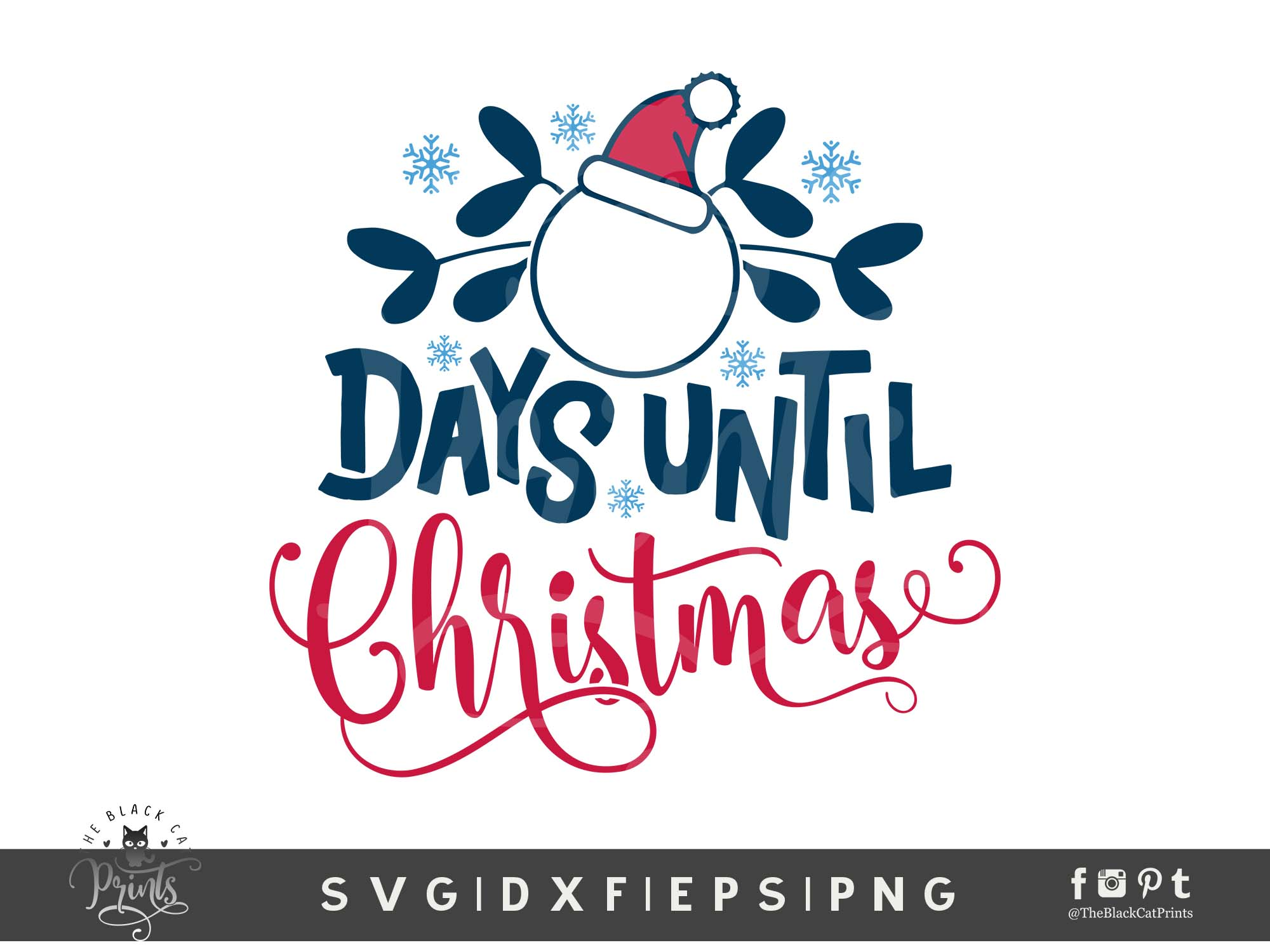 Days Until Christmas SVG DXF PNG EPS