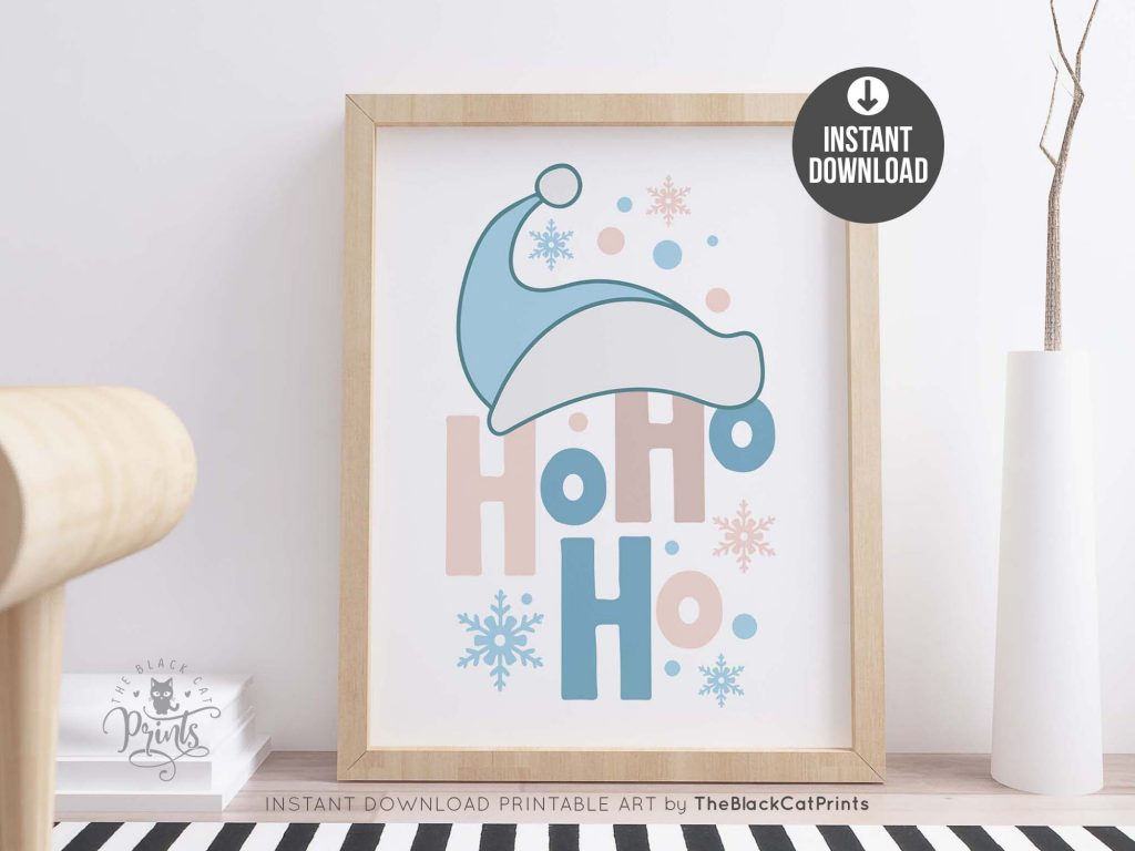 Ho Ho Ho Santa Hat Printable Art