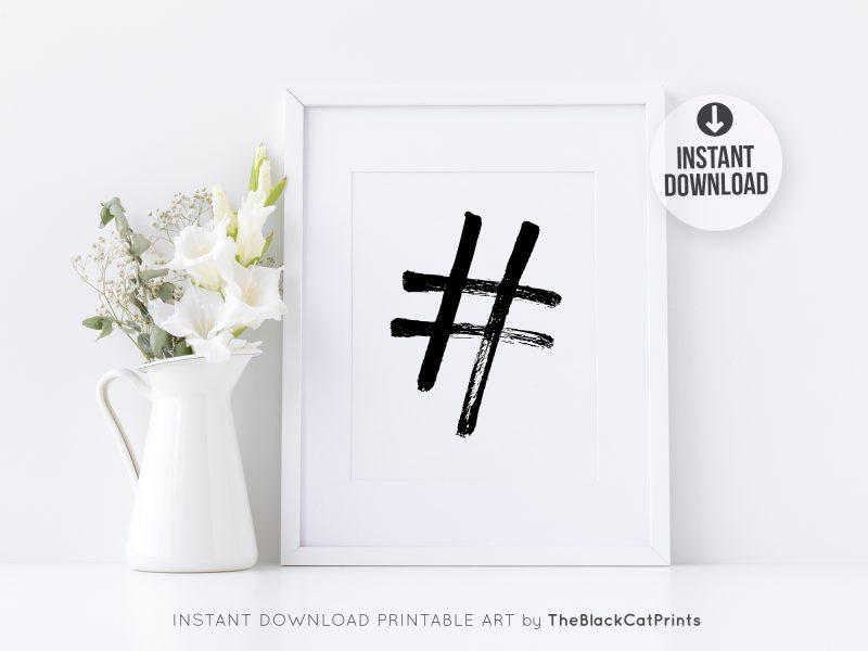 Hashtag Symbol Printable Art