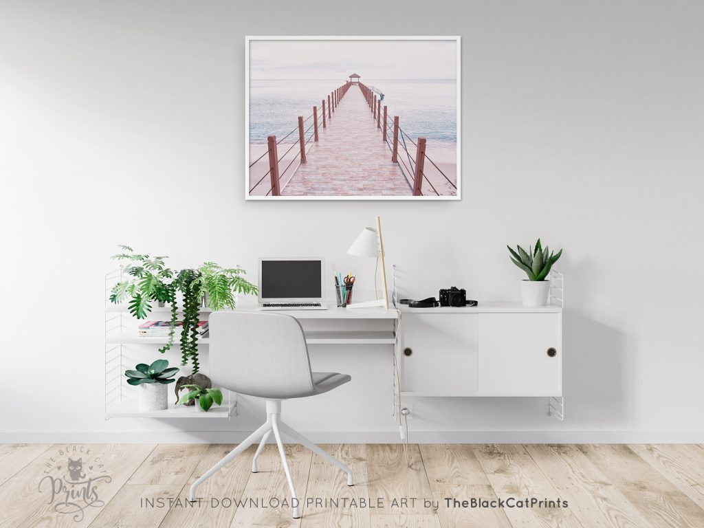 Wooden Pier Photography Print Pink Pastel