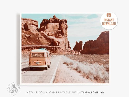 Retro VW Camper Desert Photography Print