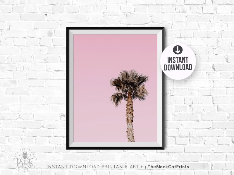 Palm Tree Photography Print Pink