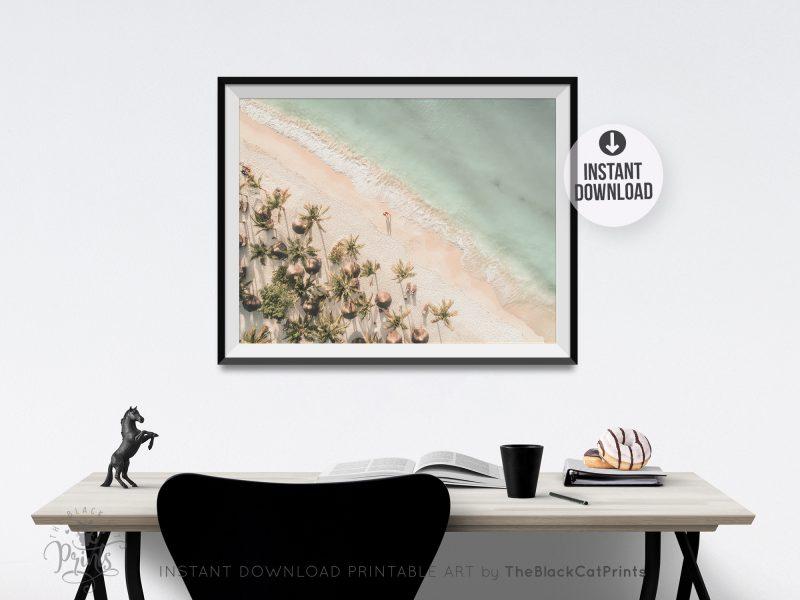 Beach & Palms Aerial View Photography Print