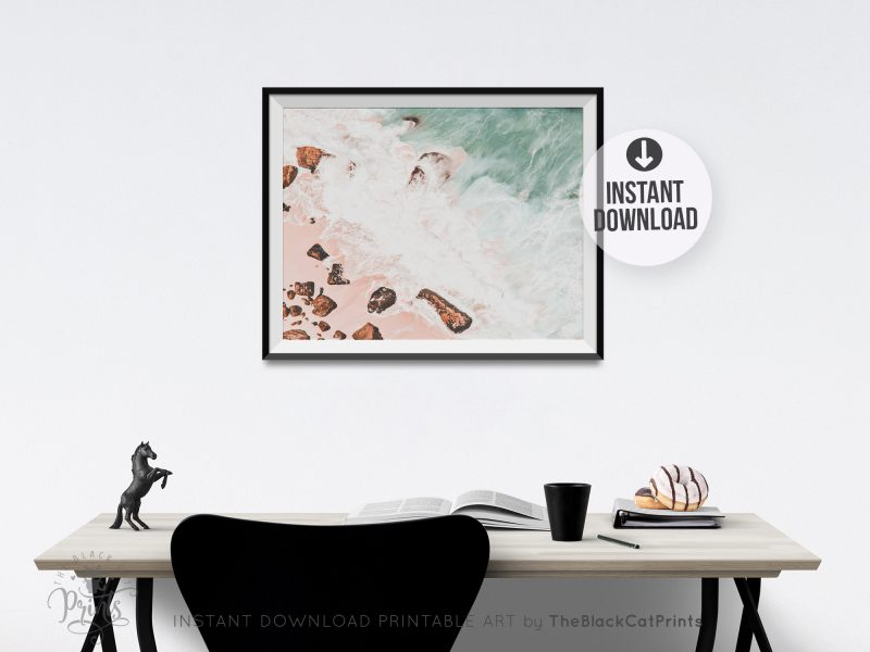 Ocean Beach Rocks Pastel Photography Print