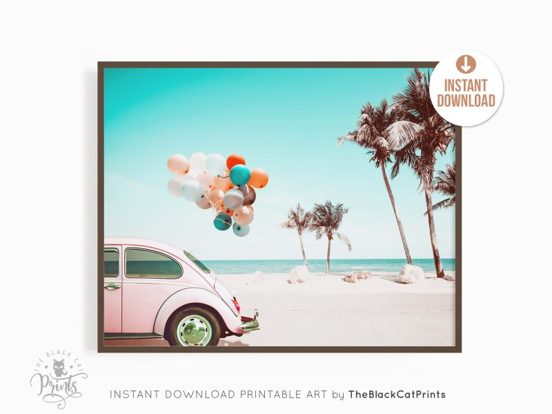 Retro VW Beetle & Baloons Photography Print