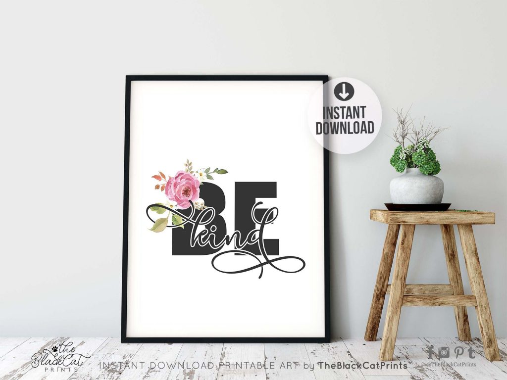 Be Kind Floral Printable Art