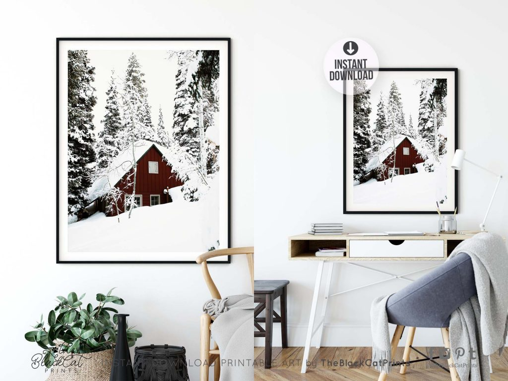 Red Barn Winter Photography Print