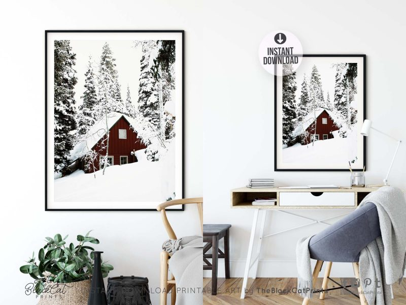 Red Log Cabin Winter Photography Print