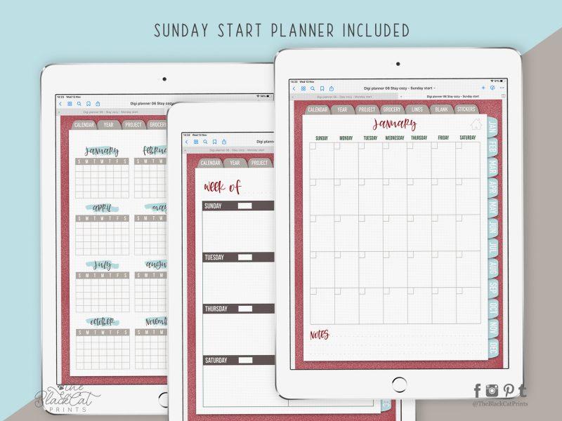 Undated Hyperlinked Digital Planner 06 - Stay Cozy