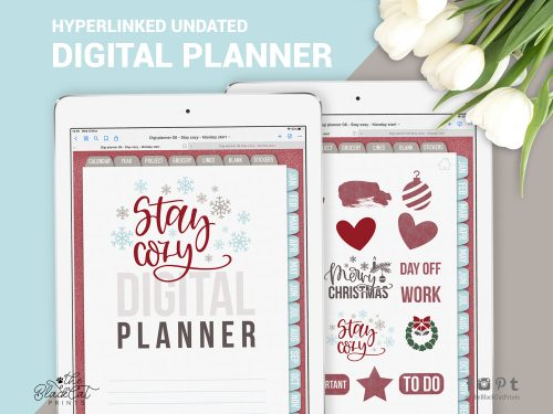 Undated Hyperlinked Digital Planner 06 - Stay Cozy