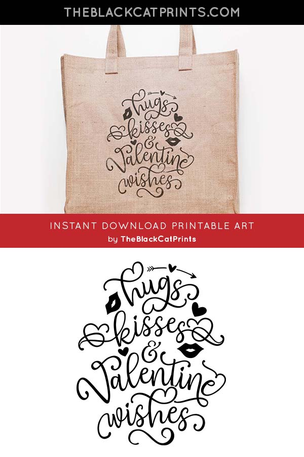 Hugs Kisses Valentine Wishes SVG