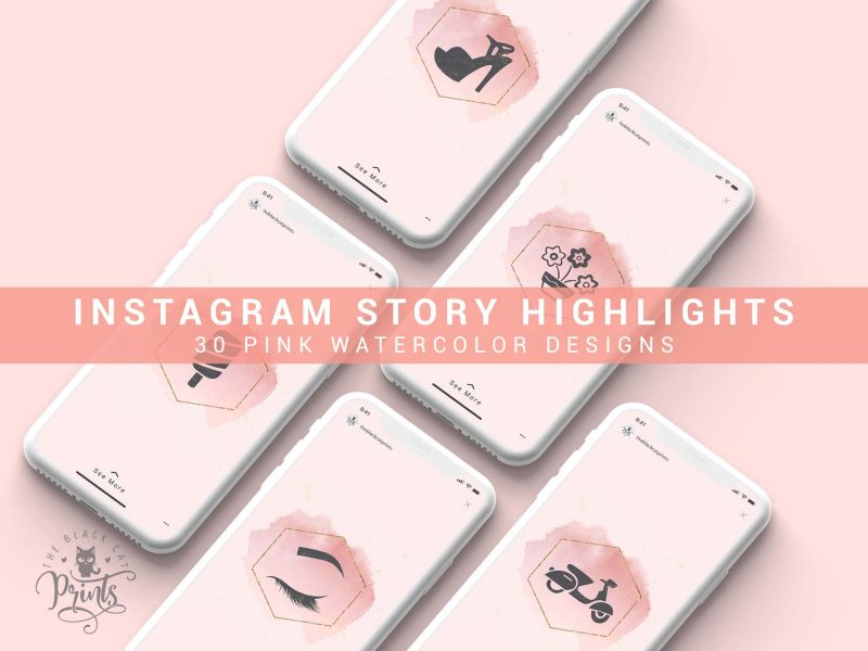 Instagram Story Highlight Icons - Rose Gold Watercolor