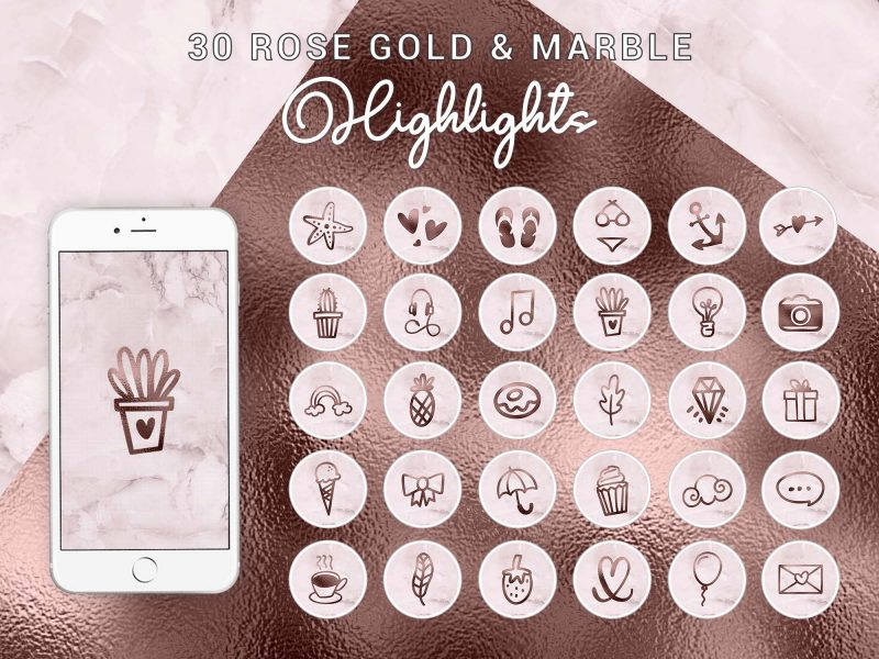 Instagram Story Highlight Icons - Hand Drawn Rose Gold Marble