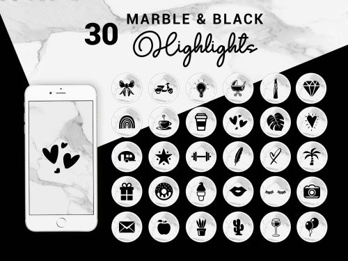 Instagram Story Highlight Icons - Marble & Black