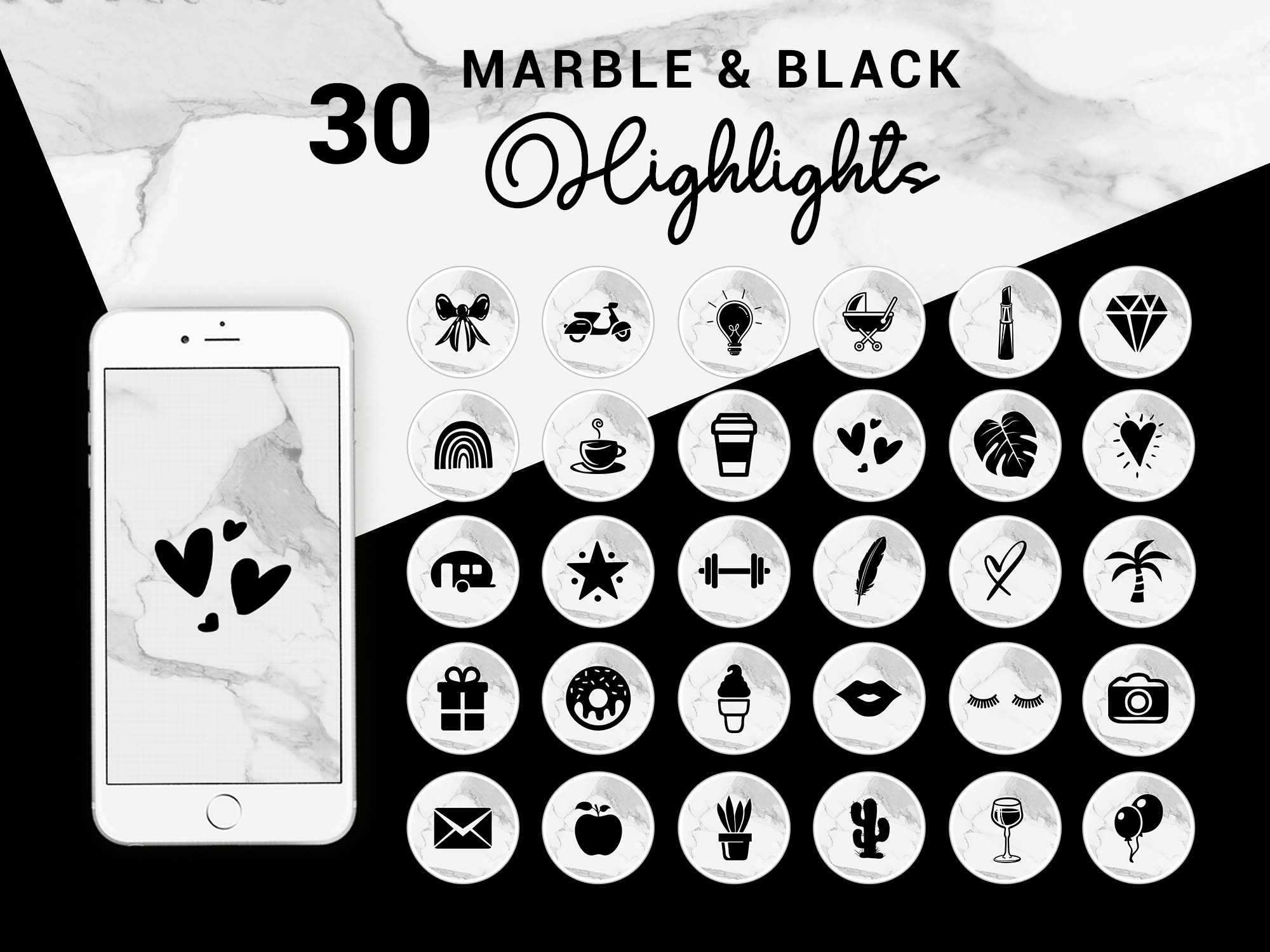 Instagram Story Highlight Icons Marble Black Theblackcatprints
