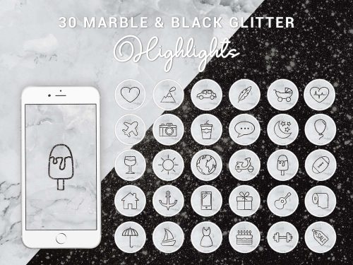 Instagram Story Highlight Icons - Marble & Black Glitter