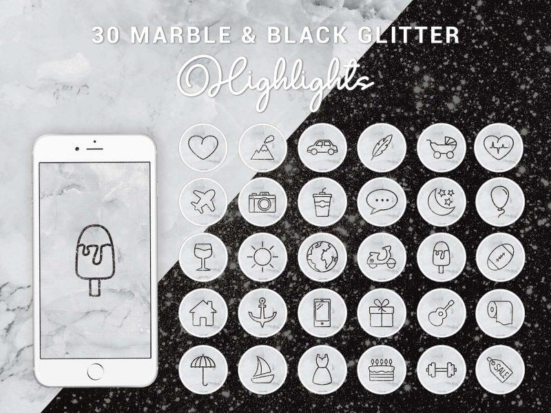 Instagram Story Highlight Icons - Marble & Black Glitter