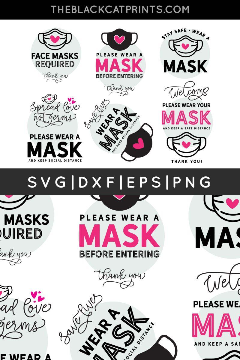 Wear A Mask Signs Bundle SVG