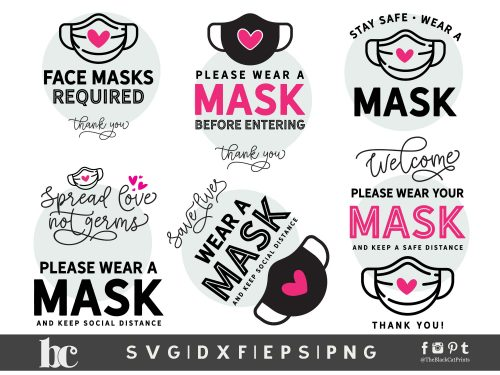 Wear A Mask Signs Bundle SVG