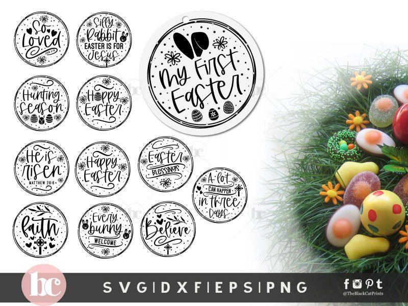 Easter Round Ornaments Bundle SVG