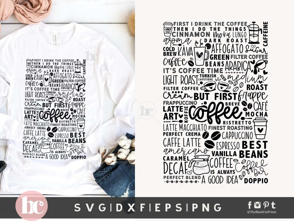 Coffee Words & Doodles SVG