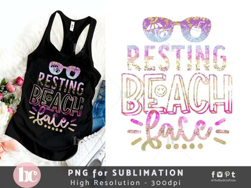 Resting Beach Face Sublimation PNG