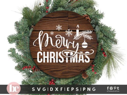 Merry Christmas Round Sign SVG
